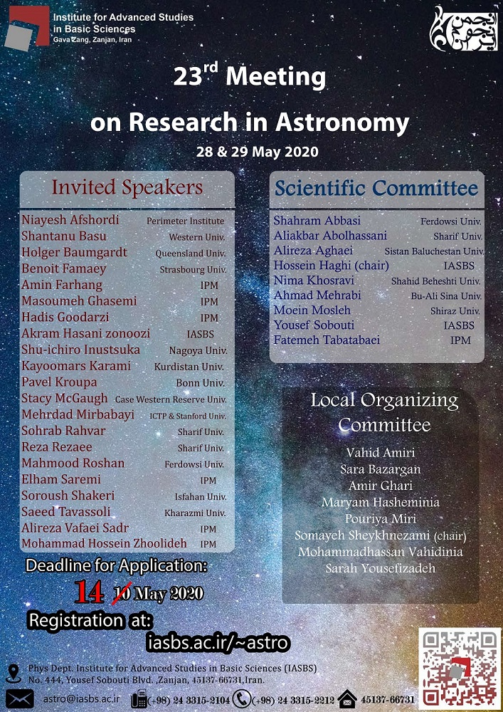 23rd Meeting on Research in Astronomy held at IASBS